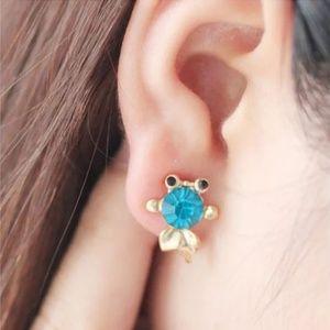 Jewelry - Blue Crystal Goldfish Stud Earrings